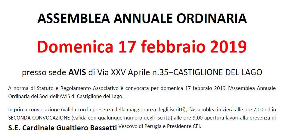 Avis Castiglione del Lago Assemblea Ordinaria 2019