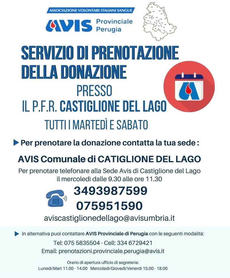 Avis Castiglione del Lago - servizio prenotazioni donazioni